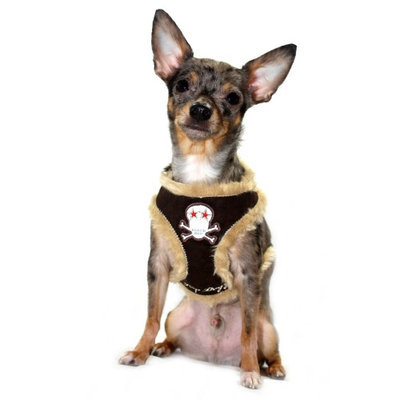 Hip Doggie Brown Fur Skull Harness Vest, Size: XL