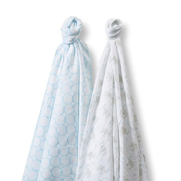 Swaddle Designs SwaddleDesigns SwaddleDuo - Mod Elephant & Chickies - Pastel Blue
