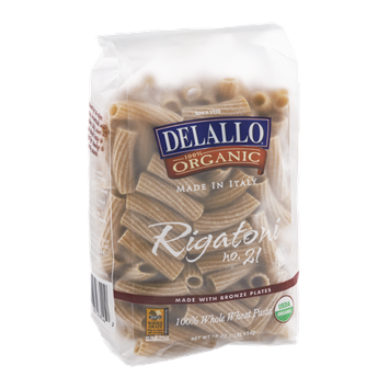 Delallo 100% Organic Whole Wheat Pasta Rigatoni