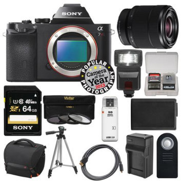 Sony Alpha A7R Digital Camera Body (Black) with 28-70mm Lens + 64GB Card + Case + Flash + Battery & Charger + Tripod Kit