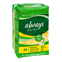 Always Ultra Thin with Leak Guard Regular Pads - 44 CT