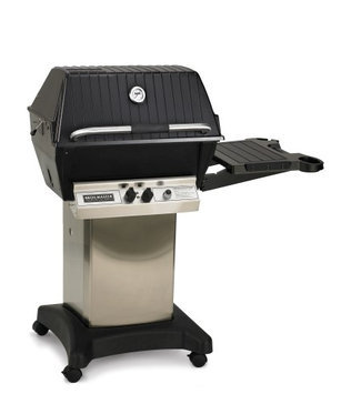 Broilmaster P3PK5N Grill Cart Package with P3 Natural Gas Grill Head 45 000 BTU Capacity Bowtie Burner Cart with Casters and Side Shelf in Stainless