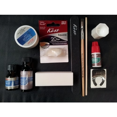 Kiss Complete Acrylic Sculpture Kit-Starter Nail kit with Maximum Speed Nail Glue / Acrylic primer/Acrylic Liquid/Acrylic Powder/20 Natural Nail Tips/20 Nail Forms/Brush/Nail File and White Buff Block