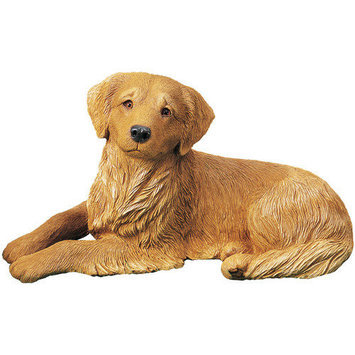 Sandicast Original Size Curious Golden Retriever Sculpture