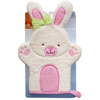 Nojo Character Bath Collection 3D Character Applique Woven Terry Washmitt, Bunny