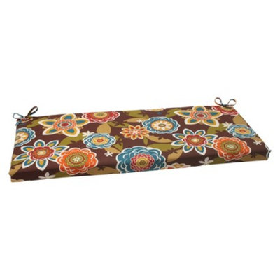 Pillow Perfect Outdoor Bench Cushion - Brown/Turquoise Floral