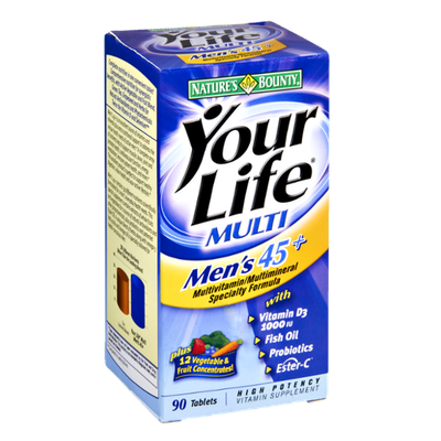 Nature's Bounty Your Life Multi Men's 45+ Multivitamin/Multimineral Specialty Formula- 90 CT