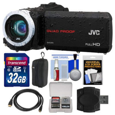 JVC Everio GZ-R10 Quad Proof Full HD Digital Video Camera Camcorder (Black) with 32GB Card + Case + HDMI Cable + Accessory Kit
