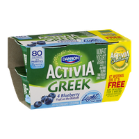 Dannon Activia Greek Nonfat Yogurt Light Fat Free Blueberry - 4 CT