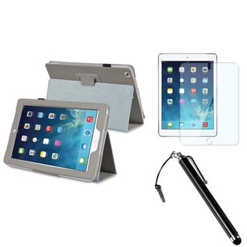 Insten INSTEN Grey Leather Case Stand Cover+Screen Protector+Pen For Apple iPad Air 5 5th Gen