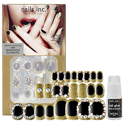nails inc. Crystaltastic Nails Black and Gold