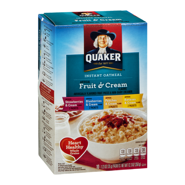 Quaker Instant Oatmeal Fruit & Cream Variety Pack - 10 CT