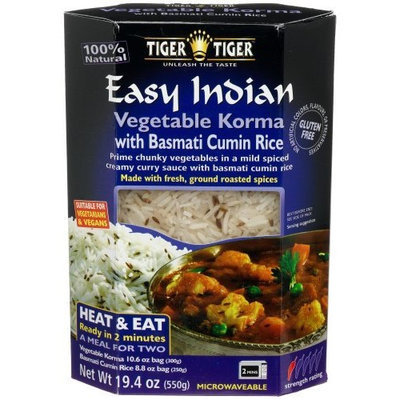 Tiger Tiger Tiger Easy Indian Heat & Eat, Vegetable Korma with Basmati Cumin (Jeera) Rice, 19.4-Ounce Boxes (Pack of 6)
