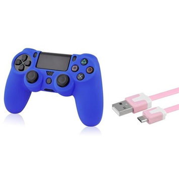 Insten INSTEN Pink 3FT Micro USB Noodle Charger Cable+Blue Case for Sony PS4 controller