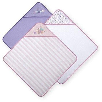 Koala Baby Girls' Hooded Towels 3 Pack - Pink/Purple Bug