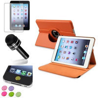 Insten iPad Mini 3/2/1 Case, by INSTEN Orange 360 Stand Leather Case Cover+Matte SP for iPad Mini 3 2 1