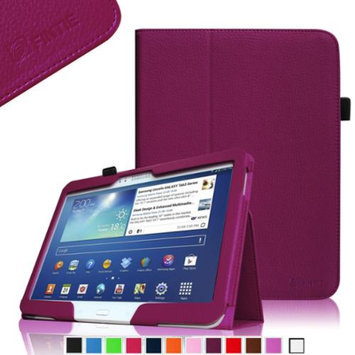 Fintie Folio Slim Leather Case for Samsung Galaxy Tab 3 10.1 inch Tablet with Stylus Loop, Purple