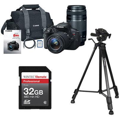 Canon Black EOS Rebel T5i Digital SLR Camera, Includes 18-55mm and 75-300mm Lenses with BONUS Memory Card and Tripod Value Bundle