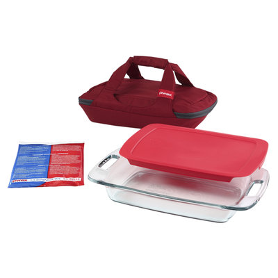 Pyrex Portable 4 piece Set with 3 quart Oblong Baking Dish, Red Cover, Large Unipack, Black Carrier - WORLD KITCHEN, INC.