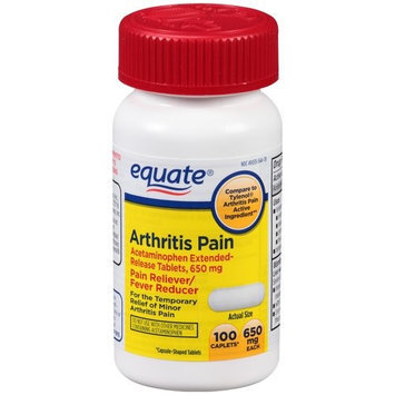 Equate Arthritis Pain Acetaminophen Extended-Release Pain Reliever/Fever Reducer Caplets, 650mg, 100 count