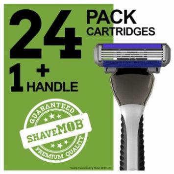 Shavemob ShaveMob Men's 4 Blade Shaving Razor Kit - 24 Cartridges & 1 Handle, 1 set