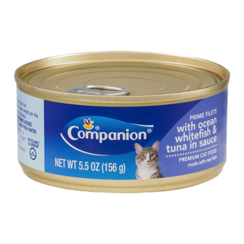 Companion Premium Cat Food Prime Filets with Ocean Whitefish & Tuna in Sauce 5.5 OZ