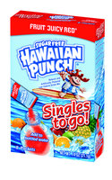 Hawaiian Punch Fruit Juicy Red Natural Flavors Soft Drink Mix Sugar Freesticks In Each Box