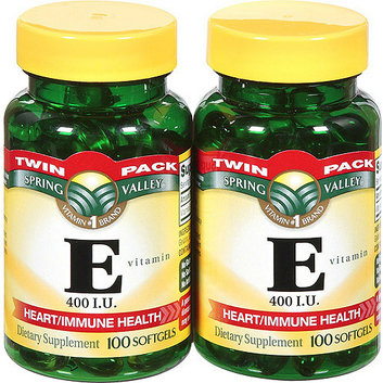 Spring Valley Heart/Immune Health 400 I.U. Vitamin E Supplement Twin Pack