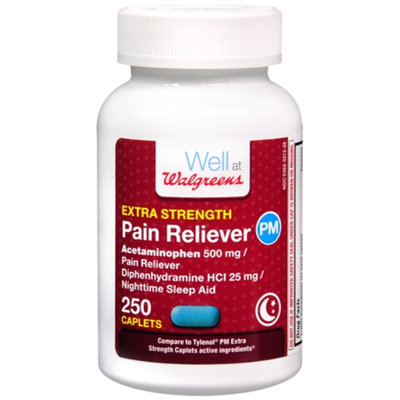 Walgreens Pain Reliever PM Extra Strength, Caplets, 250 ea
