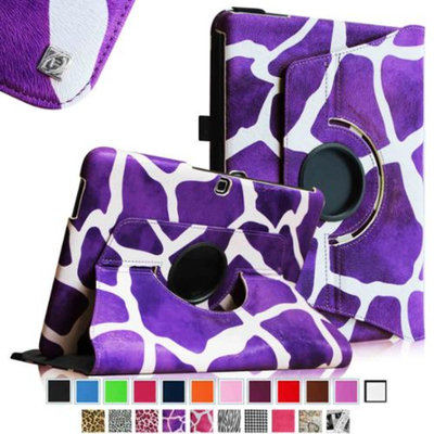 Fintie Rotating Leather Case Cover For Samsung GALAXY Tab 4 10.1 inch Tablet, Giraffe Purple