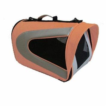 Pet Life Folding Zippered Sporty Mesh Carrier, Medium, Orange and Grey, 1 ea