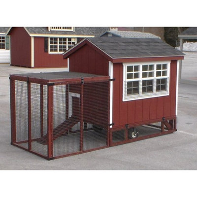 A And L Furniture Co A & L Furniture Henny Penny Super Coop with Yard Kit White Lancaster Green