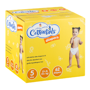 Cottontails Diapers Size 5 (17+ lb) - 62 CT