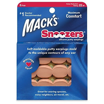 Macks Snoozers Silicone Putty Earplugs, 6-Count