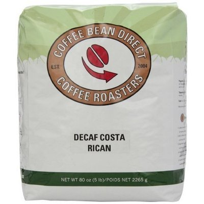 Coffee Bean Direct Decaf Costa Rican, Whole Bean Coffee, 5-Pound Bag