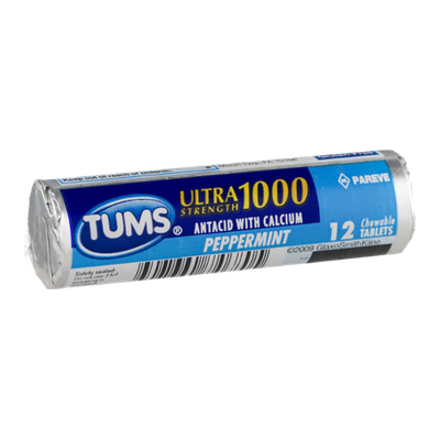 Tums Ultra Strength 1000 Antacid Tablets Peppermint - 12 CT