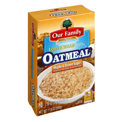 Our Family Instant Oatmeal Lower Sugar Maple & Brown Sugar Flavor