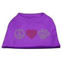 Mirage Pet Products 5263 LGPR Peace Love and Paw Rhinestone Shirt Purple L 14