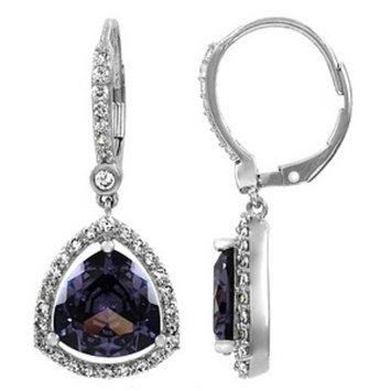Emitations Abilene's 4 Ct Trillion Cut CZ Earrings, Purple, 1 ea