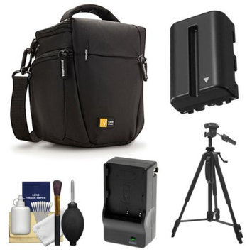 Case Logic TBC-406 Digital SLR Camera Holster Case (Black) with NP-FM500H Battery & Charger + Tripod + Cleaning Kit for Sony Alpha A57, A58, A65, A77, A99