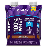 EAS 100% Whey Chocolate Pure Whey Protein Shakes, 11 fl oz, 4 count, (Pack of 3)