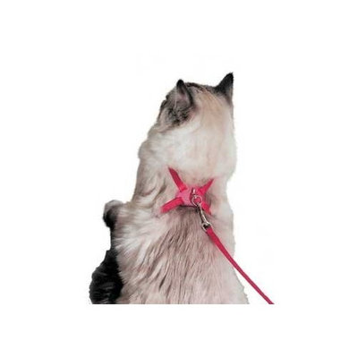 Coastal Pet Products CCP7348PKF Nylon Right Adjustable Figure 8 Cat Harness, Pink Flamingo
