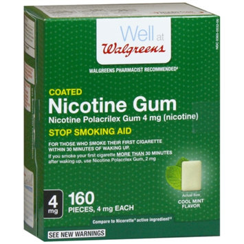 Walgreens Coated Nicotine Gum 4mg, Cool Mint, 160 ea