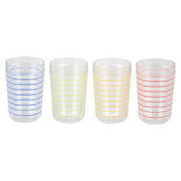 New Thermo-Serv LTD Thin Parallels Insulated Tumbler Set of 4 - 16 oz.