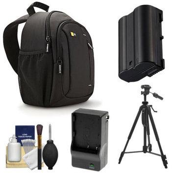Case Logic TBC-410 Digital SLR Camera Sling Case (Black) with EN-EL15 Battery & Charger + Tripod + Kit for Nikon D7000, D7100, D600, D800