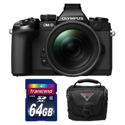 Olympus OM-D E-M1 Micro 4/3 Digital Camera with 12-40mm f/2.8 Lens (Black) with 64GB Card + Case Kit