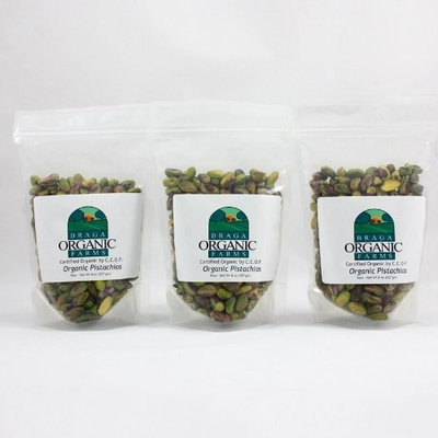 Braga Organic Farms Organic Raw Pistachio Kernels, 3 of our 1/2 lb bags