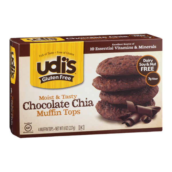 Udi's Gluten Free Muffin Tops Chocolate Chia - 4 CT