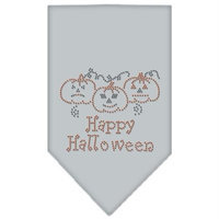 Mirage Pet Products 67-13-01 LGGY Happy Halloween Rhinestone Bandana Grey Large