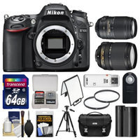 Nikon D7100 Digital SLR Camera Body with 18-140mm & 55-300mm VR Lens + 64GB Card + Case + Battery + Tripod + Filters + Remote